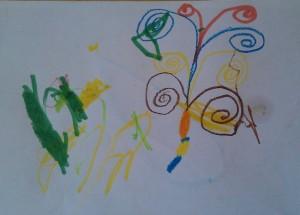 paw (po prawej, po lewej nieokreślone mazidełka innego dziecka)