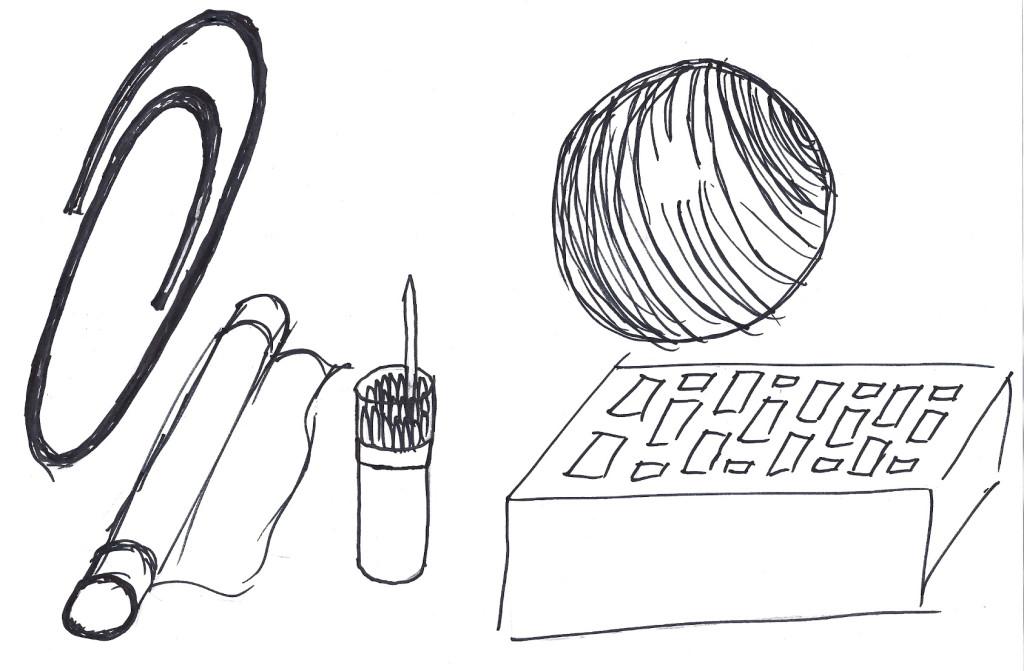 rysunki: Marek Strantz (od lewej: spinacz, folia spożywcza, wykałaczka, metalowa kulka, cegła)