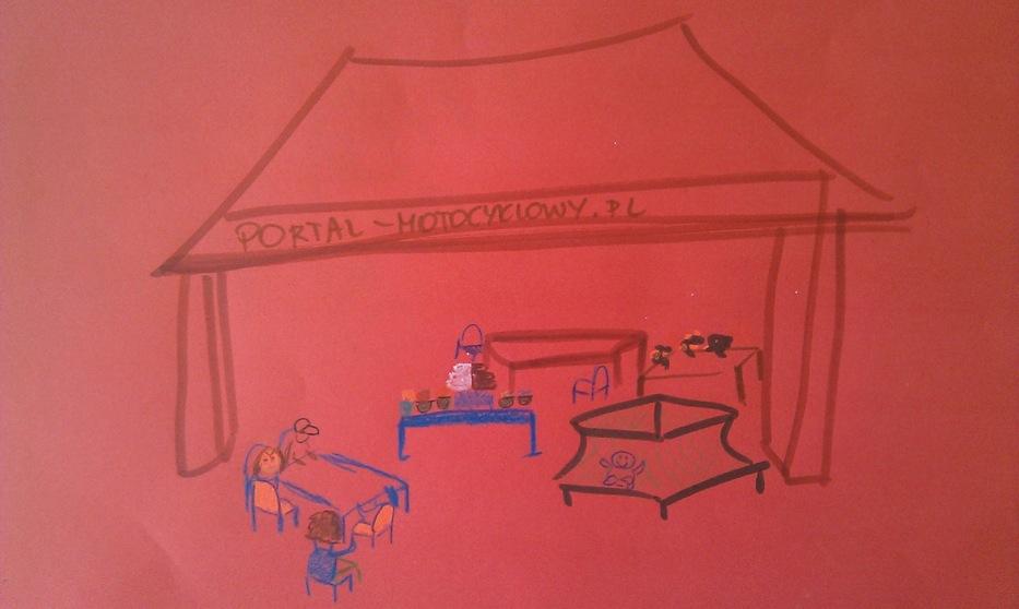 KlaLambury z Dziećmi na pikniku - dzieci poprosiły mnie, żebym narysowała nasze stoisko. Podpowiadały mi co i rusz co jeszcze jest do narysowania